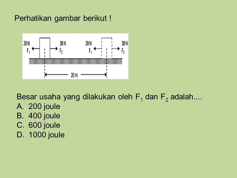 Perhatikan gambar berikut ! Besar usaha yang dilakukan oleh F 1 dan F 2 adalah.... A.200 joule B.400 joule C.600 joule D.1000 joule