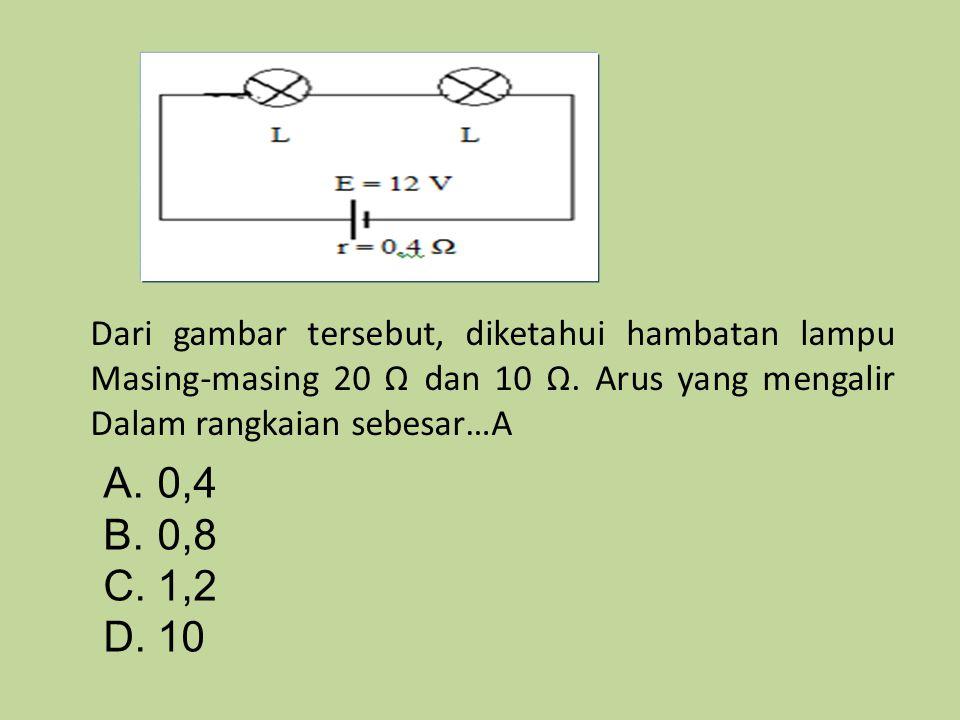 A.0,4 B.0,8 C.1,2 D.10 Dari gambar tersebut, diketahui hambatan lampu Masing-masing 20 Ω dan 10 Ω. Arus yang mengalir Dalam rangkaian sebesar…A