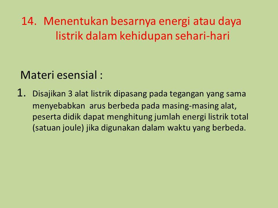 14.Menentukan besarnya energi atau daya listrik dalam kehidupan sehari-hari Materi esensial : 1. Disajikan 3 alat listrik dipasang pada tegangan yang