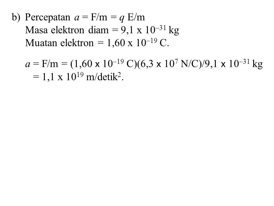b) Percepatan a = F/m = q E/m Masa elektron diam = 9,1 x 10 –31 kg Muatan elektron = 1,60 x 10 –19 C. a = F/m = (1,60 x 10 –19 C)(6,3 x 10 7 N/C)/9,1