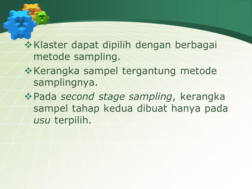  Klaster dapat dipilih dengan berbagai metode sampling.  Kerangka sampel tergantung metode samplingnya.  Pada second stage sampling, kerangka sampe