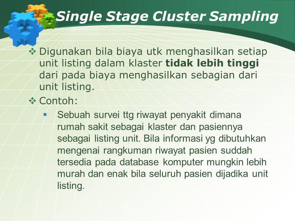 Single Stage Cluster Sampling  Digunakan bila biaya utk menghasilkan setiap unit listing dalam klaster tidak lebih tinggi dari pada biaya menghasilka
