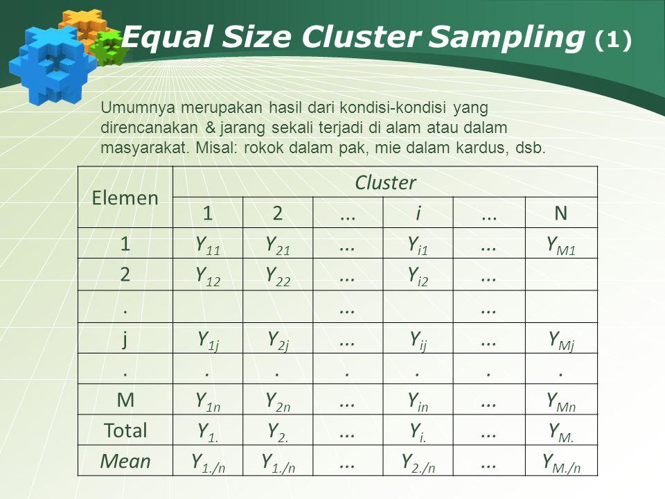 Equal Size Cluster Sampling (1) Elemen Cluster 12...i N 1Y 11 Y 21...Y i1...Y M1 2Y 12 Y 22...Y i2.... jY 1j Y 2j...Y ij...Y Mj....... MY 1n Y 2n...Y