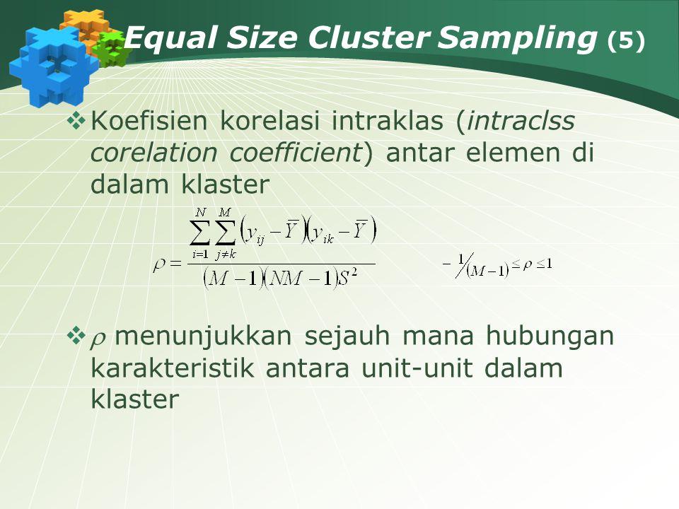 Equal Size Cluster Sampling (5)  Koefisien korelasi intraklas (intraclss corelation coefficient) antar elemen di dalam klaster   menunjukkan sejauh