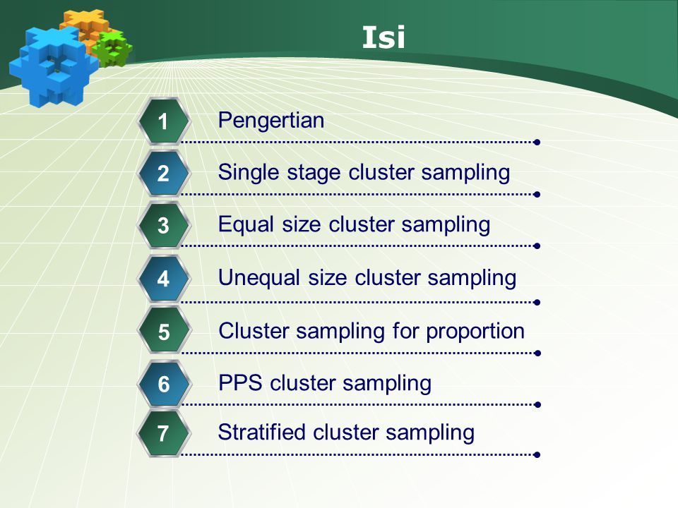 Isi Pengertian 1 Single stage cluster sampling 2 Equal size cluster sampling 3 Unequal size cluster sampling 4 Cluster sampling for proportion 5 PPS c