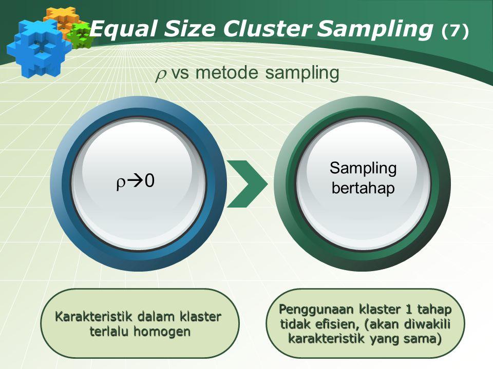 Equal Size Cluster Sampling (7) Karakteristik dalam klaster terlalu homogen Penggunaan klaster 1 tahap tidak efisien, (akan diwakili karakteristik yan