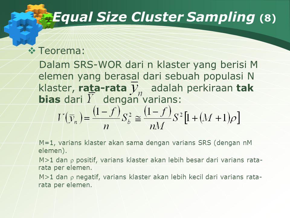 Equal Size Cluster Sampling (8)  Teorema: Dalam SRS-WOR dari n klaster yang berisi M elemen yang berasal dari sebuah populasi N klaster, rata-rata ad