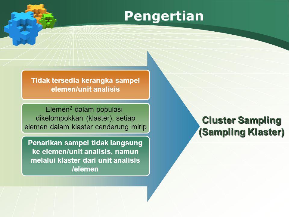 Pengertian Tidak tersedia kerangka sampel elemen/unit analisis Elemen 2 dalam populasi dikelompokkan (klaster), setiap elemen dalam klaster cenderung