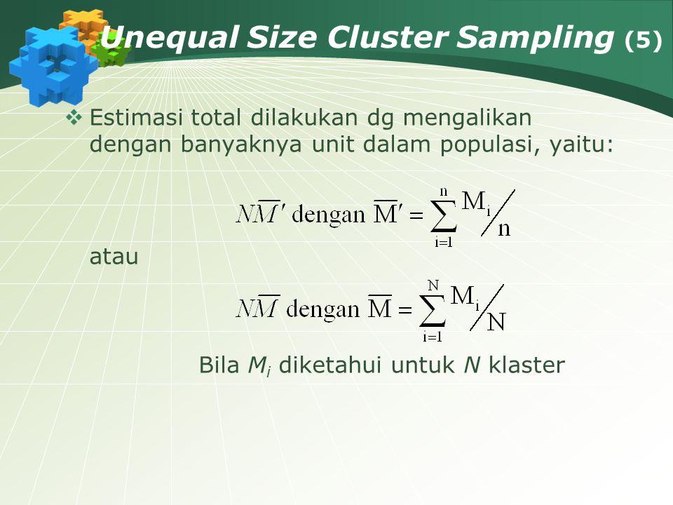 Unequal Size Cluster Sampling (5)  Estimasi total dilakukan dg mengalikan dengan banyaknya unit dalam populasi, yaitu: atau Bila M i diketahui untuk