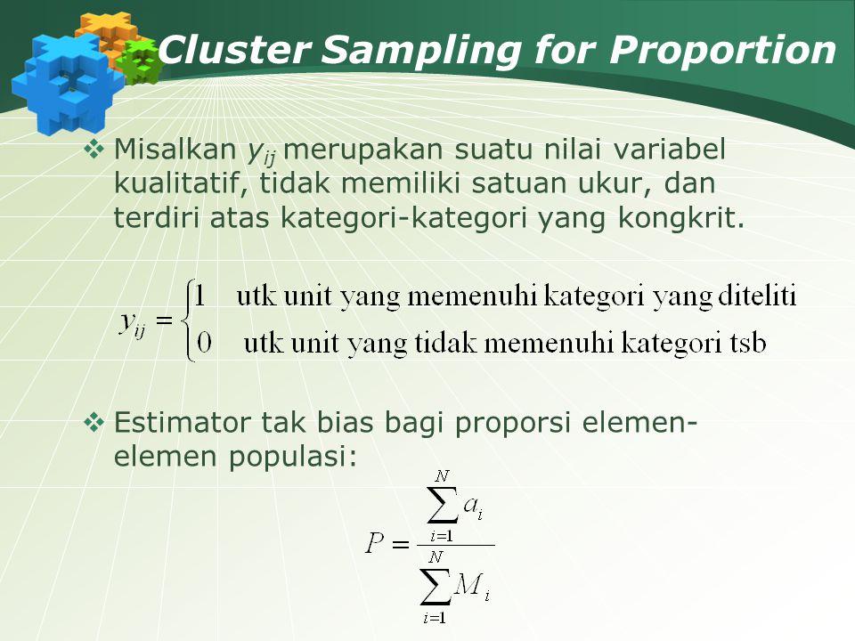 Cluster Sampling for Proportion  Misalkan y ij merupakan suatu nilai variabel kualitatif, tidak memiliki satuan ukur, dan terdiri atas kategori-kateg