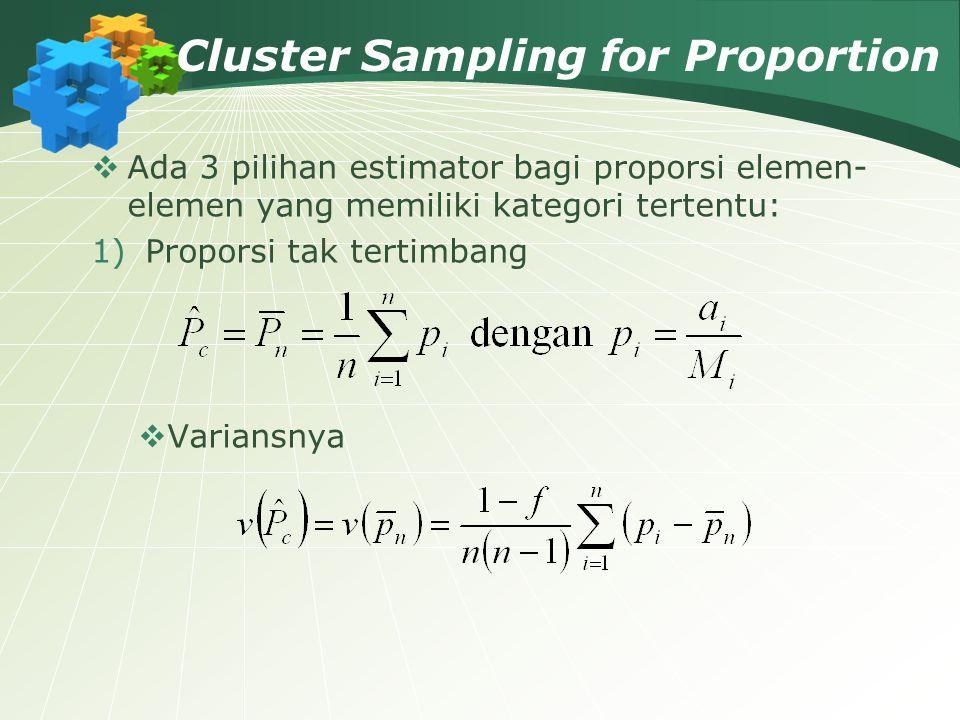 Cluster Sampling for Proportion  Ada 3 pilihan estimator bagi proporsi elemen- elemen yang memiliki kategori tertentu: 1)Proporsi tak tertimbang  Va
