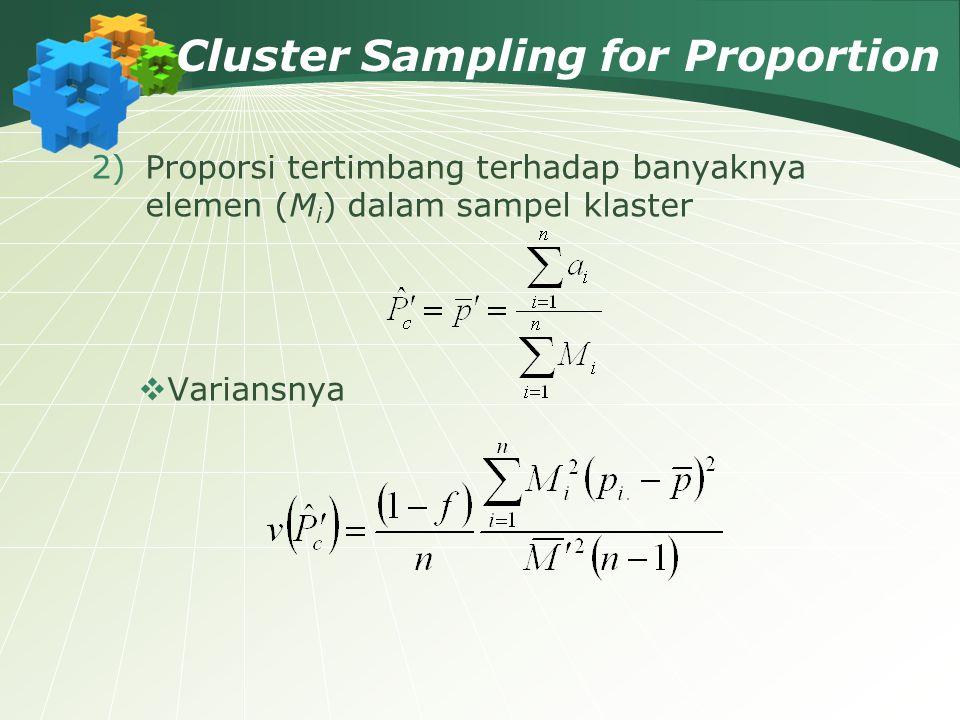 Cluster Sampling for Proportion 2)Proporsi tertimbang terhadap banyaknya elemen (M i ) dalam sampel klaster  Variansnya