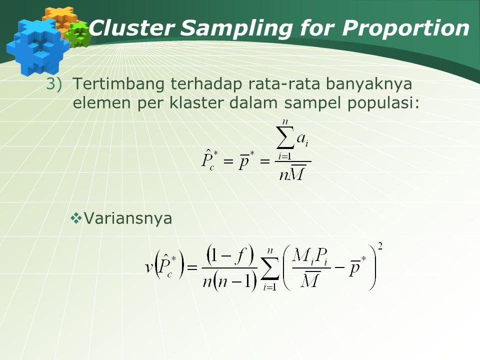 Cluster Sampling for Proportion 3)Tertimbang terhadap rata-rata banyaknya elemen per klaster dalam sampel populasi:  Variansnya