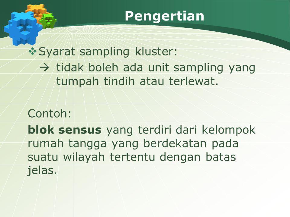 Pengertian  Syarat sampling kluster:  tidak boleh ada unit sampling yang tumpah tindih atau terlewat. Contoh: blok sensus yang terdiri dari kelompok