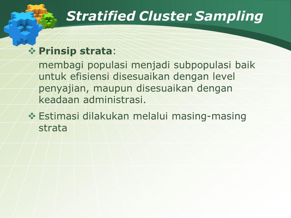 Stratified Cluster Sampling  Prinsip strata: membagi populasi menjadi subpopulasi baik untuk efisiensi disesuaikan dengan level penyajian, maupun dis