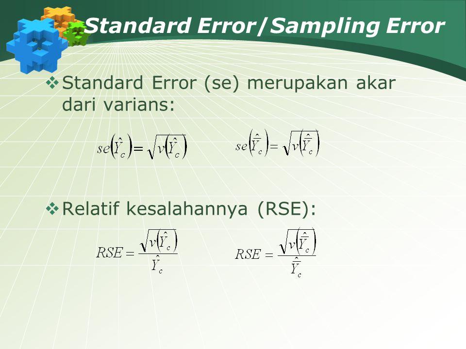 Standard Error/Sampling Error  Standard Error (se) merupakan akar dari varians:  Relatif kesalahannya (RSE):