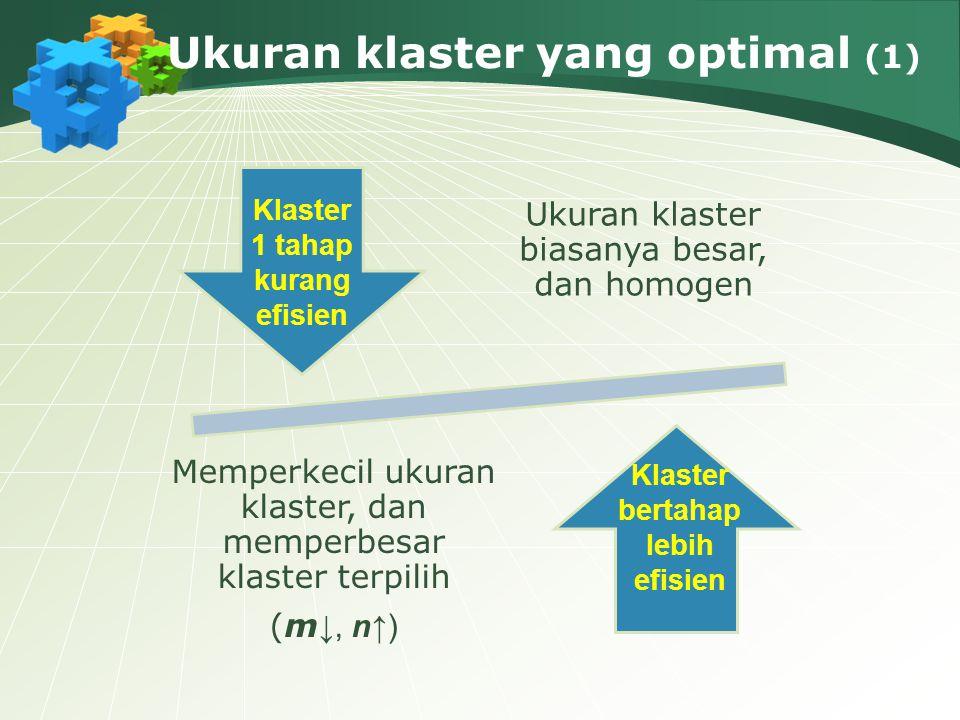 Ukuran klaster yang optimal (1) Ukuran klaster biasanya besar, dan homogen Memperkecil ukuran klaster, dan memperbesar klaster terpilih (m ↓, n↑) Klas