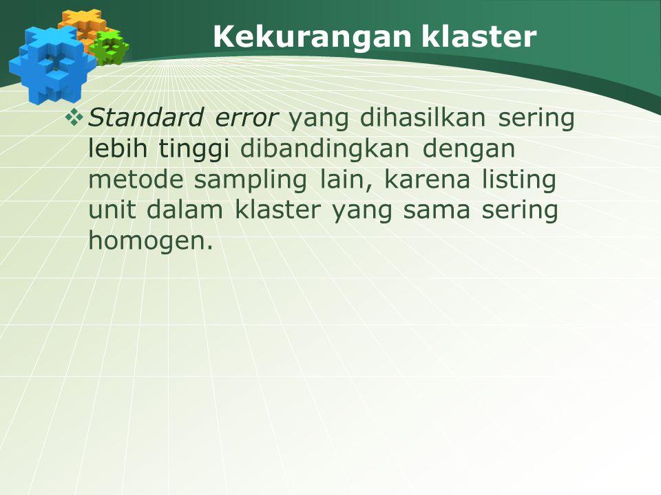 Kekurangan klaster  Standard error yang dihasilkan sering lebih tinggi dibandingkan dengan metode sampling lain, karena listing unit dalam klaster ya