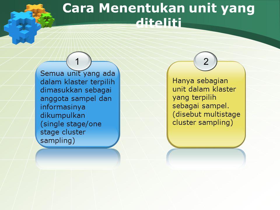 Cara Menentukan unit yang diteliti 1 Semua unit yang ada dalam klaster terpilih dimasukkan sebagai anggota sampel dan informasinya dikumpulkan (single