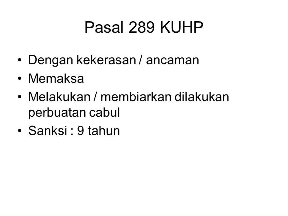 PERKOSAAN pasal 285 KUHP Dengan kekerasan / ancaman kekerasan Memaksa melakukan persetubuhan Dengan perempuan bukan isterinya Terjadi persetubuhan San