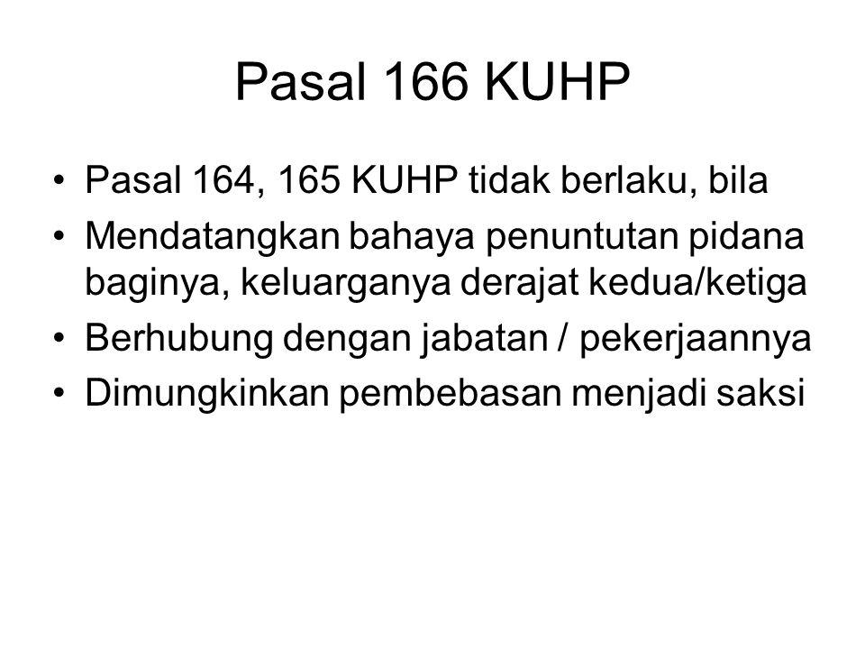 Pasal 165 KUHP Barangsiapa mengetahui ada niat: –melakukan kejahatan Pasal : 104, 106, 107, 108, 110 -113, 115 -129, 131 KUHP, –lari dari tentara dala