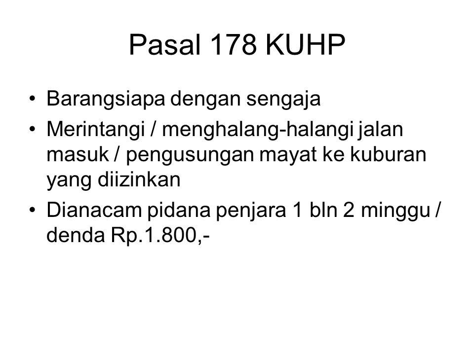 Pasal 177 KUHP 1.Barangsiapa mentertawakan seorang petugas agama dalam menjalankan tugas yang diizinkan ; 2.Barangsiapa menghina benda-benda untuk keperluan ibadat di tempat atau pada waktu ibadat dilakukan.