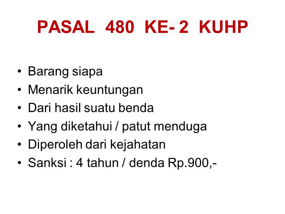 PASAL 480 KE- 1 KUHP Barang siapa Membeli, menawarkan, menukar, menerima gadai, menerima hadiah Atau utk menarik keuntungan: Menjual, menyewakan, menukarkan, menggadaikan, mengangkut, menyimpan/menyembunyikan Sesuatu benda Yang diketahui / patut diduga Diperoleh dari kejahatan Sanksi: 4 tahun / denda Rp.900,-
