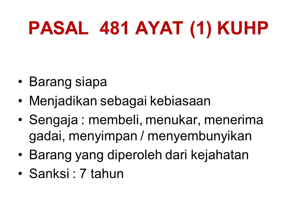 PASAL 480 KE- 2 KUHP Barang siapa Menarik keuntungan Dari hasil suatu benda Yang diketahui / patut menduga Diperoleh dari kejahatan Sanksi : 4 tahun /