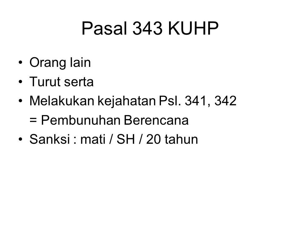 Pasal 342 KUHP Pembunuhan Bayi Berencana Seorang Ibu Untuk melaksanakan niat Karena takut akan ketahuan melahirkan Pada saat (tidak lama) Merampas nyawa bayinya Sanksi : 9 tahun