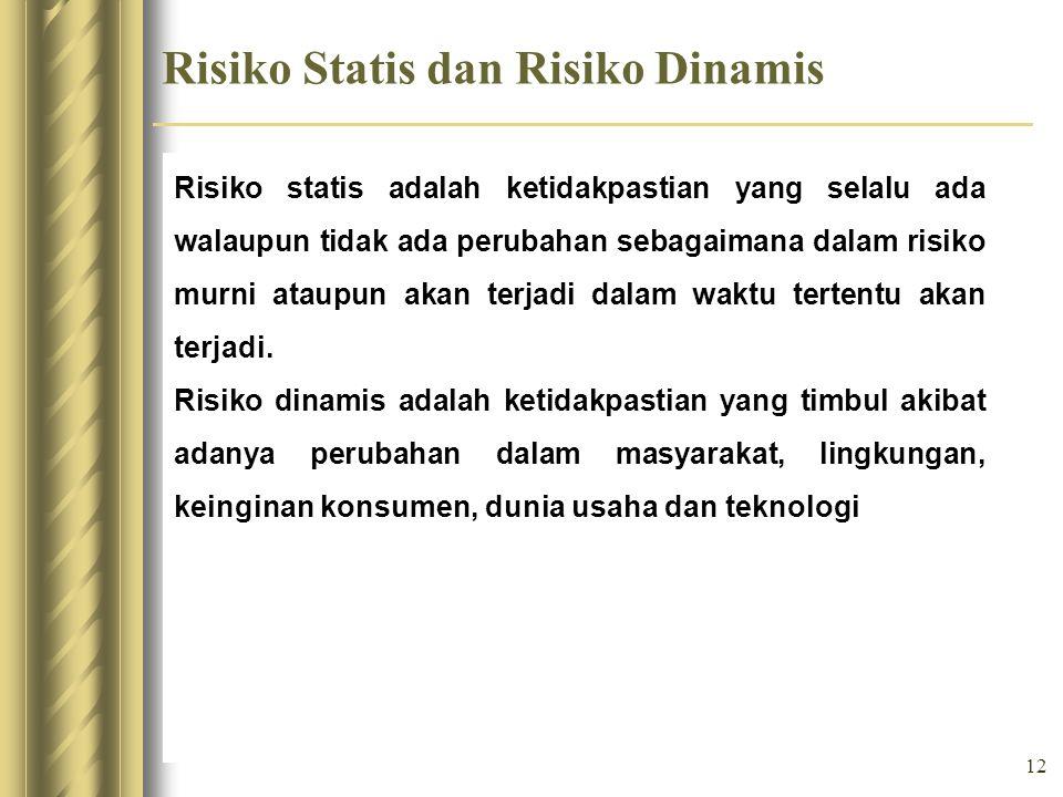 12 Risiko Statis dan Risiko Dinamis Risiko statis adalah ketidakpastian yang selalu ada walaupun tidak ada perubahan sebagaimana dalam risiko murni at