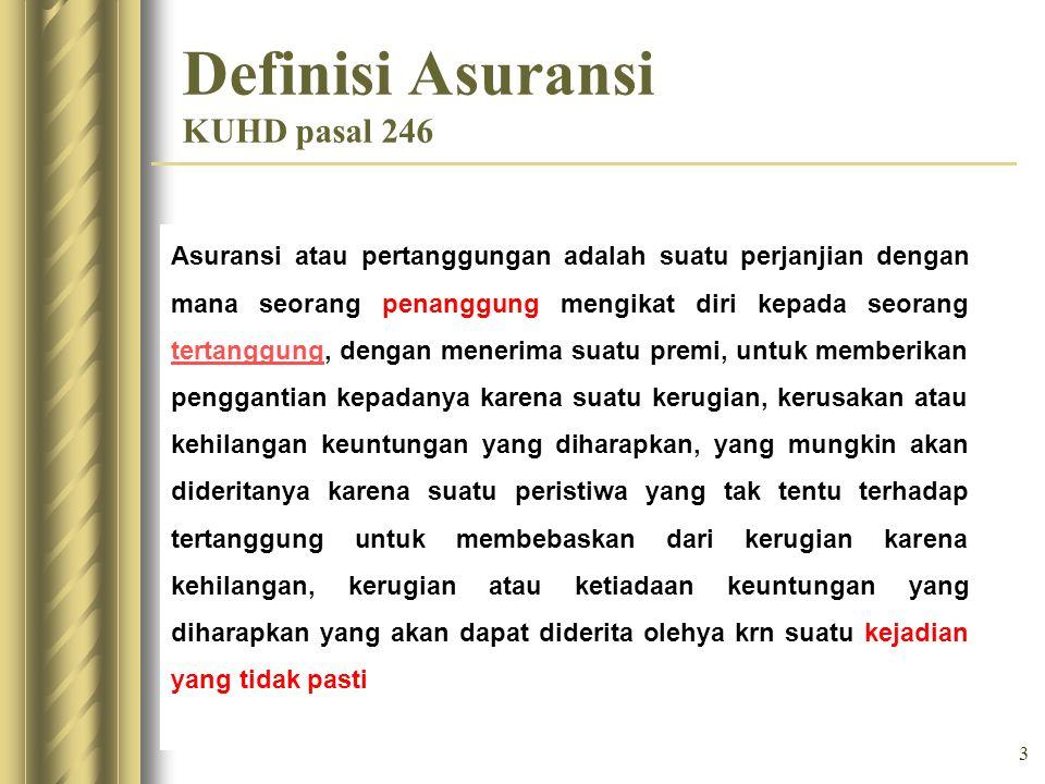 3 Definisi Asuransi KUHD pasal 246 Asuransi atau pertanggungan adalah suatu perjanjian dengan mana seorang penanggung mengikat diri kepada seorang ter