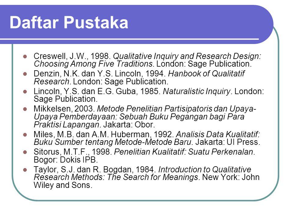 Daftar Pustaka Creswell, J.W., 1998.