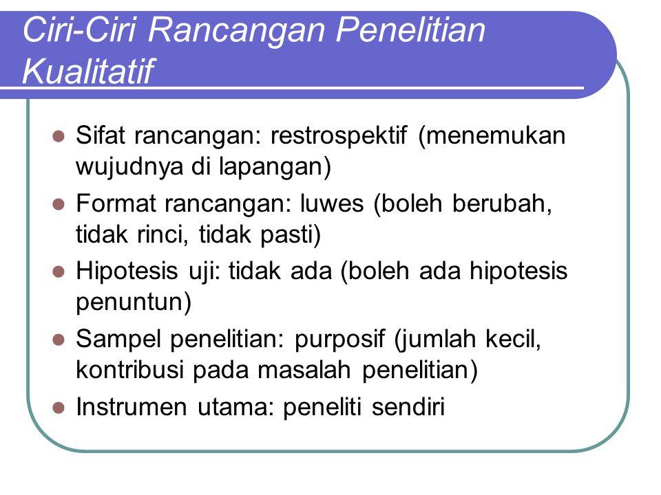 Ciri-Ciri Rancangan Penelitian Kualitatif Sifat rancangan: restrospektif (menemukan wujudnya di lapangan) Format rancangan: luwes (boleh berubah, tida