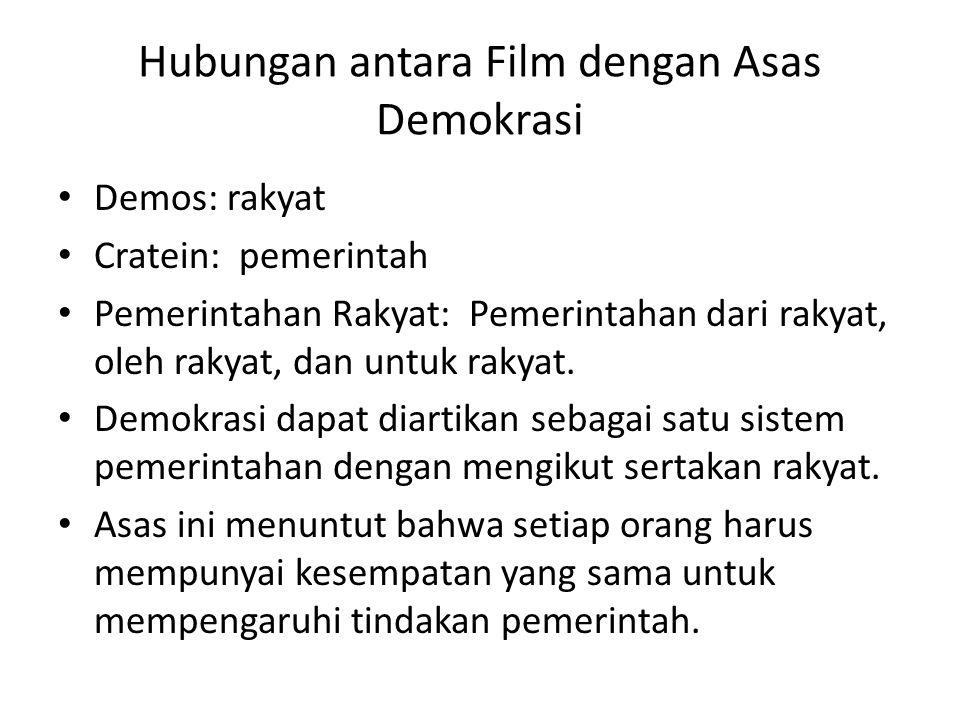 Hubungan antara Film dengan Asas Demokrasi Demos: rakyat Cratein: pemerintah Pemerintahan Rakyat: Pemerintahan dari rakyat, oleh rakyat, dan untuk rak
