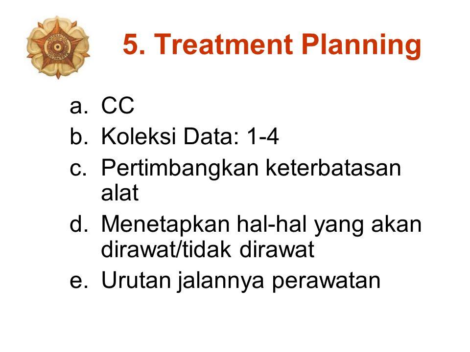 5. Treatment Planning a.CC b.Koleksi Data: 1-4 c.Pertimbangkan keterbatasan alat d.Menetapkan hal-hal yang akan dirawat/tidak dirawat e.Urutan jalanny