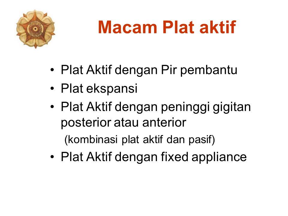 Macam Plat aktif Plat Aktif dengan Pir pembantu Plat ekspansi Plat Aktif dengan peninggi gigitan posterior atau anterior (kombinasi plat aktif dan pasif) Plat Aktif dengan fixed appliance