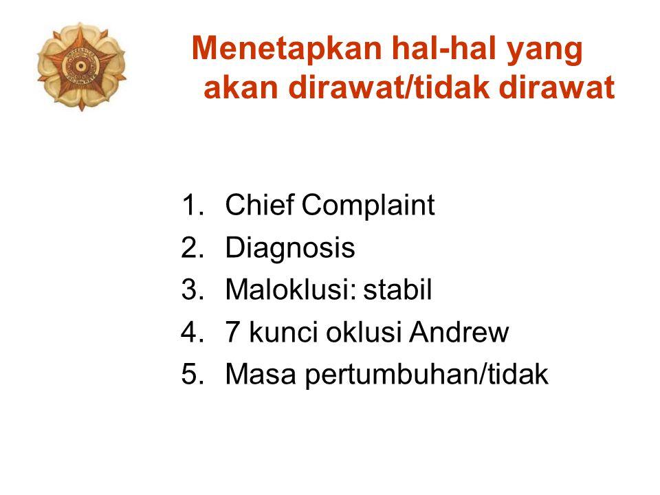 Menetapkan hal-hal yang akan dirawat/tidak dirawat 1.Chief Complaint 2.Diagnosis 3.Maloklusi: stabil 4.7 kunci oklusi Andrew 5.Masa pertumbuhan/tidak