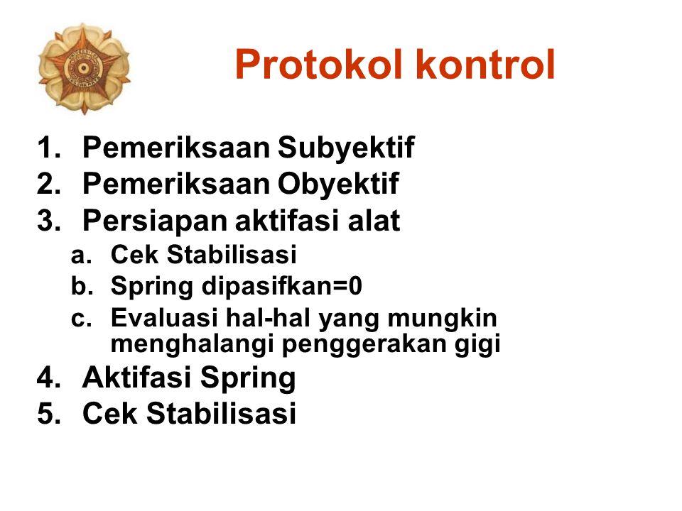 Protokol kontrol 1.Pemeriksaan Subyektif 2.Pemeriksaan Obyektif 3.Persiapan aktifasi alat a.Cek Stabilisasi b.Spring dipasifkan=0 c.Evaluasi hal-hal y