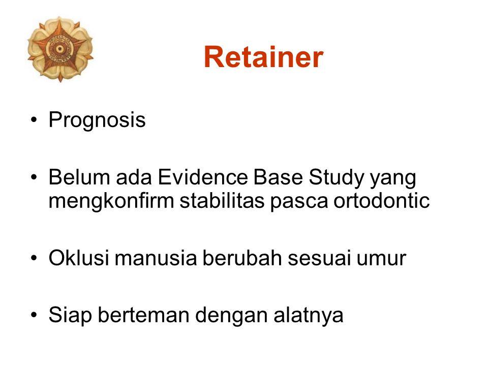 Retainer Prognosis Belum ada Evidence Base Study yang mengkonfirm stabilitas pasca ortodontic Oklusi manusia berubah sesuai umur Siap berteman dengan alatnya