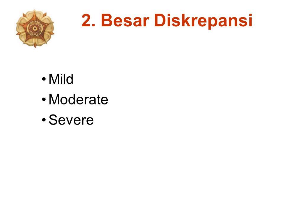 2. Besar Diskrepansi Mild Moderate Severe