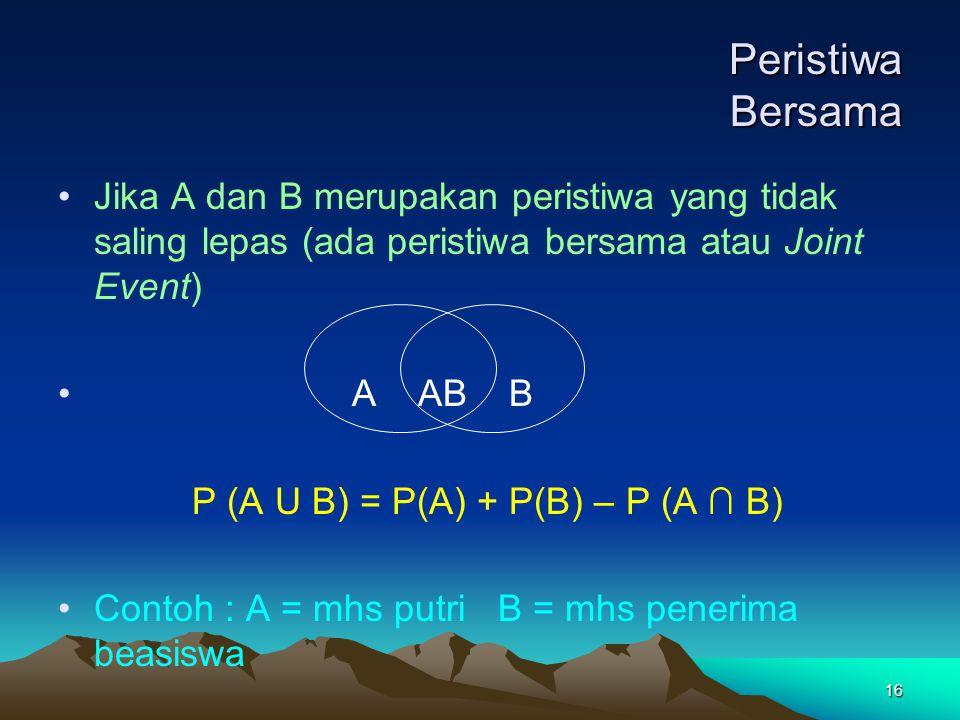 16 Peristiwa Bersama Jika A dan B merupakan peristiwa yang tidak saling lepas (ada peristiwa bersama atau Joint Event) A AB B P (A U B) = P(A) + P(B)