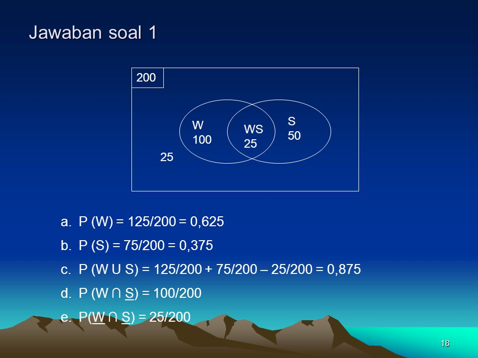 18 Jawaban soal 1 a.P (W) = 125/200 = 0,625 b.P (S) = 75/200 = 0,375 c.P (W U S) = 125/200 + 75/200 – 25/200 = 0,875 d.P (W ∩ S) = 100/200 e.P(W ∩ S)