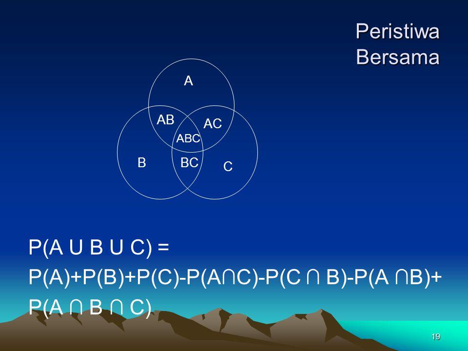 19 Peristiwa Bersama Peristiwa Bersama P(A U B U C) = P(A)+P(B)+P(C)-P(A∩C)-P(C ∩ B)-P(A ∩B)+ P(A ∩ B ∩ C) A B C AB AC BC ABC