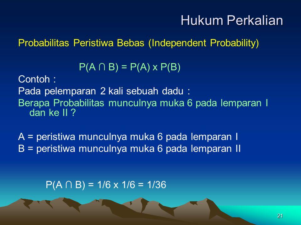 21 Hukum Perkalian Probabilitas Peristiwa Bebas (Independent Probability) P(A ∩ B) = P(A) x P(B) Contoh : Pada pelemparan 2 kali sebuah dadu : Berapa