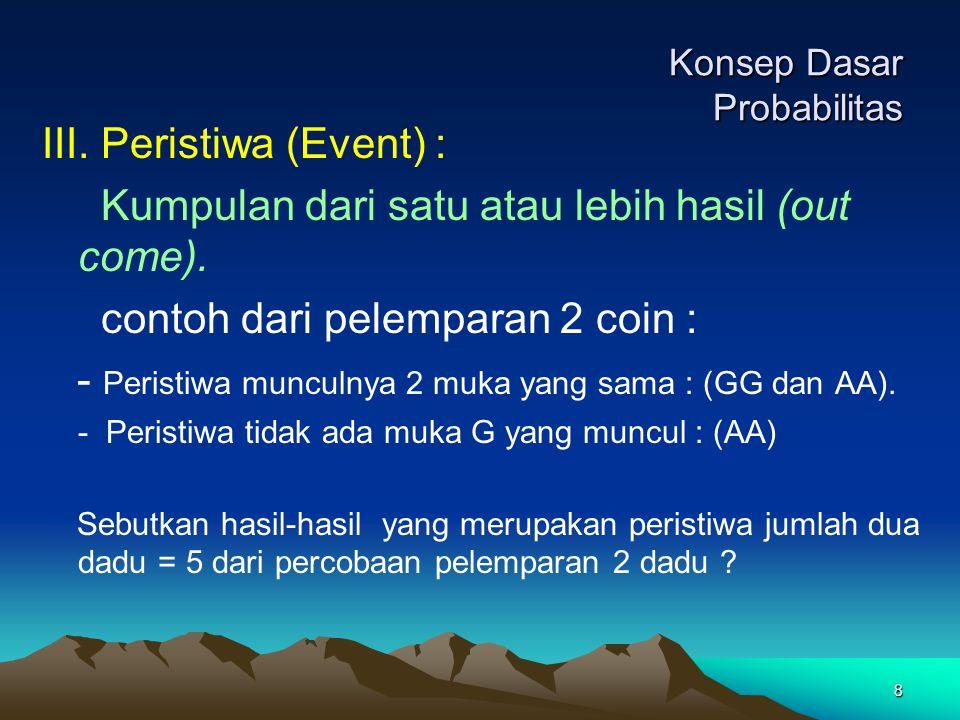 8 Konsep Dasar Probabilitas III. Peristiwa (Event) : Kumpulan dari satu atau lebih hasil (out come). contoh dari pelemparan 2 coin : - Peristiwa muncu