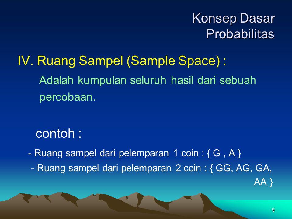 9 Konsep Dasar Probabilitas IV. Ruang Sampel (Sample Space) : Adalah kumpulan seluruh hasil dari sebuah percobaan. contoh : - Ruang sampel dari pelemp
