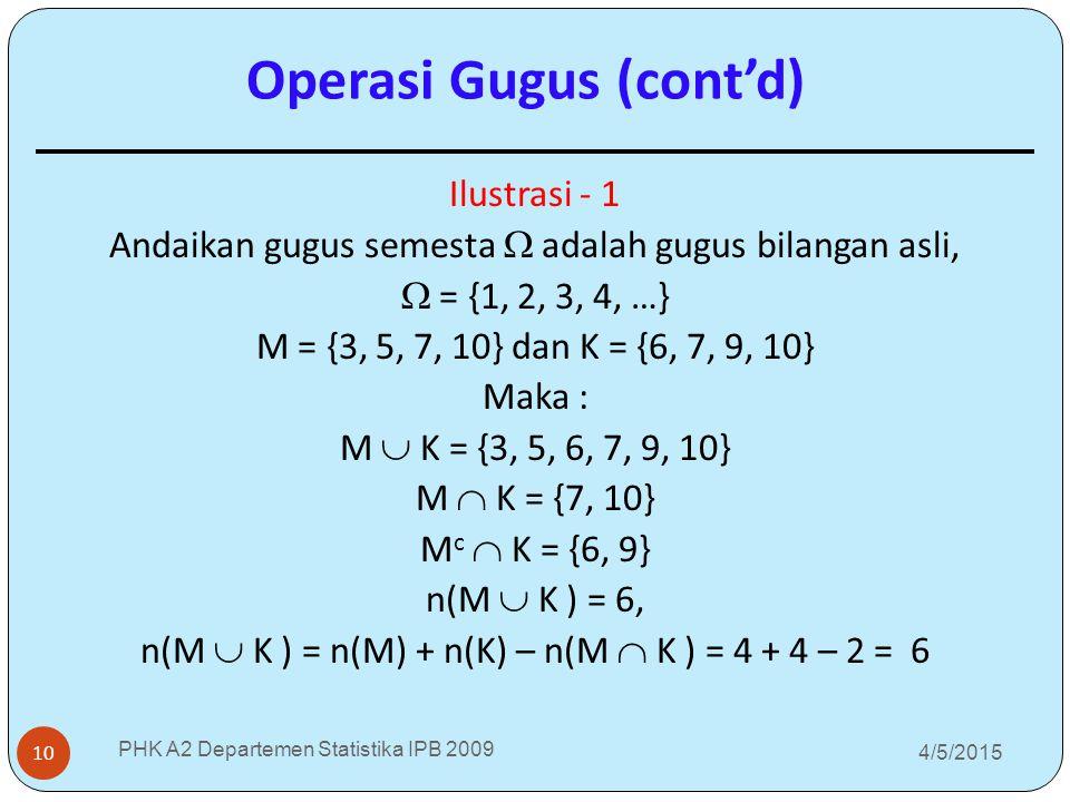 4/5/2015 PHK A2 Departemen Statistika IPB 2009 10 Ilustrasi - 1 Andaikan gugus semesta  adalah gugus bilangan asli,  = {1, 2, 3, 4, …} M = {3, 5, 7,