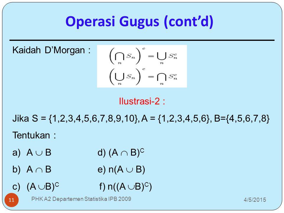 4/5/2015 PHK A2 Departemen Statistika IPB 2009 11 Operasi Gugus (cont'd) Kaidah D'Morgan : Ilustrasi-2 : Jika S = {1,2,3,4,5,6,7,8,9,10}, A = {1,2,3,4