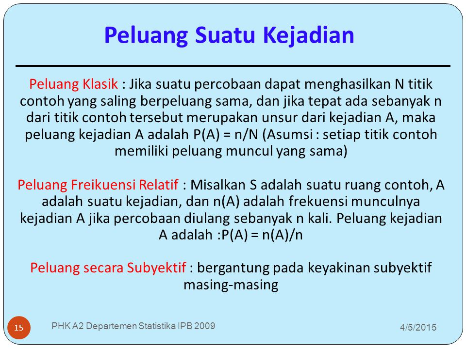 4/5/2015 PHK A2 Departemen Statistika IPB 2009 15 Peluang Klasik : Jika suatu percobaan dapat menghasilkan N titik contoh yang saling berpeluang sama,