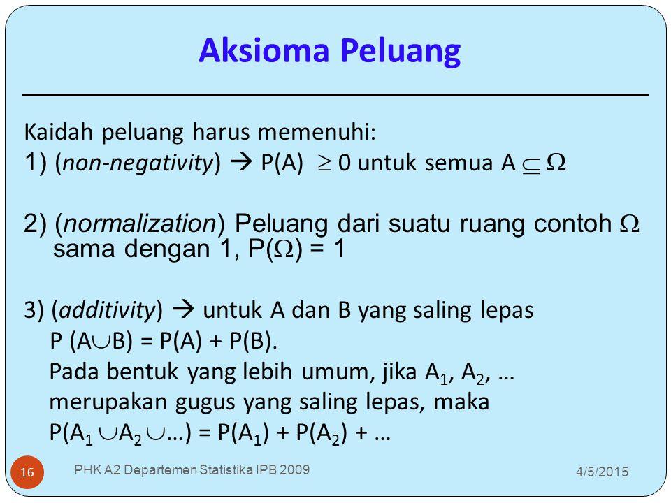 4/5/2015 PHK A2 Departemen Statistika IPB 2009 16 Aksioma Peluang Kaidah peluang harus memenuhi: 1) (non-negativity)  P(A)  0 untuk semua A   2)